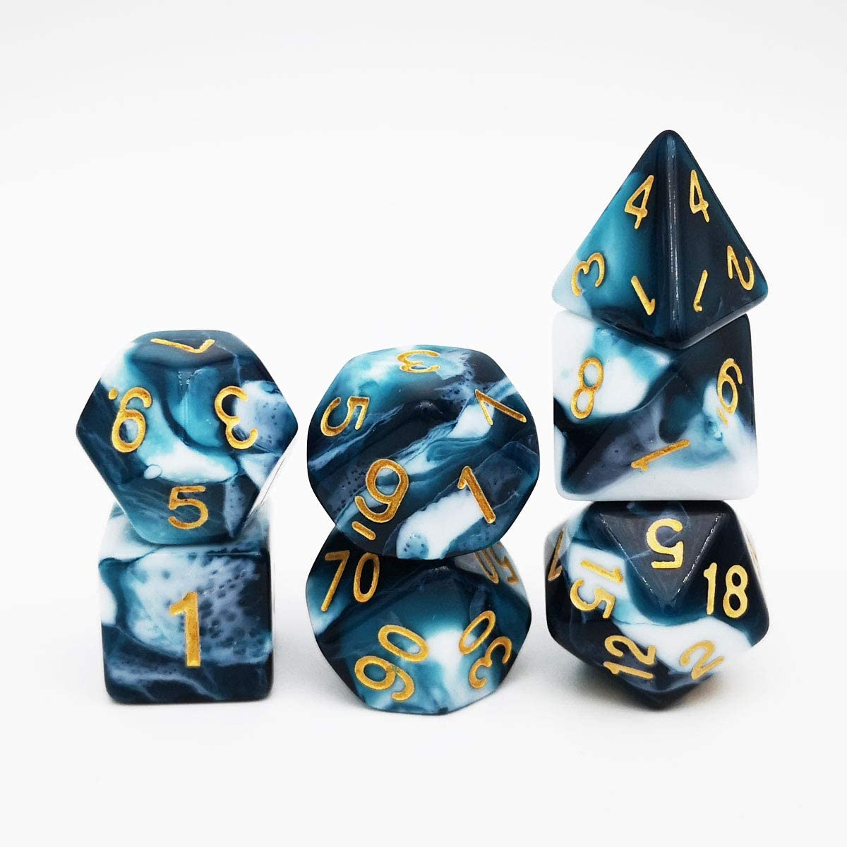 Haxtec Nebula Glitter DND Dice Galaxy Polyhedral D/&D Dice for Dungeons and Dragons Roleplaying Games