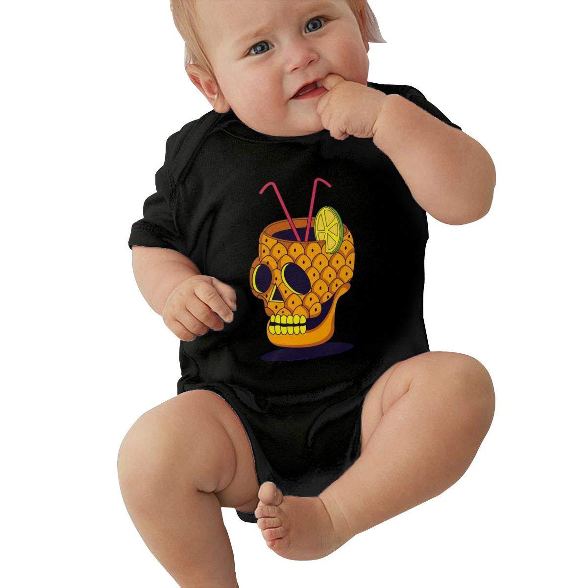 PORRO Baby Boys Girls Round Neck Short-Sleeve Bodysuit Personification Pineapple Skull Drink Funny Jumpsuits Sleepwear Black