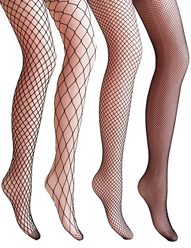 VERO MONTE 4 Pairs Fishnet Stockings for Women Net Tights Lace Stockings (BLACK)