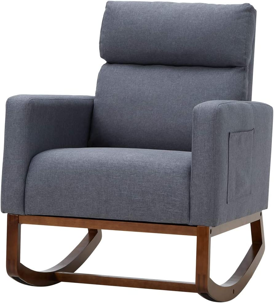 Avawing Living Room Rocking Chair, Comfortable Rocker Fabric Padded Seat Wood Base,Modern High Back Armchair,Gray