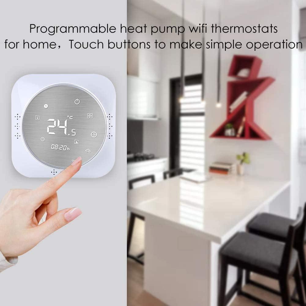 thermostat intelligent /écran LCD Thermostat Wi-Fi pour chaudi/ère /à gaz mural bouton tactile r/étro/éclair/é programmable avec Alexa Google Home et t/él/éphone APP-Blanc panneau bross/é