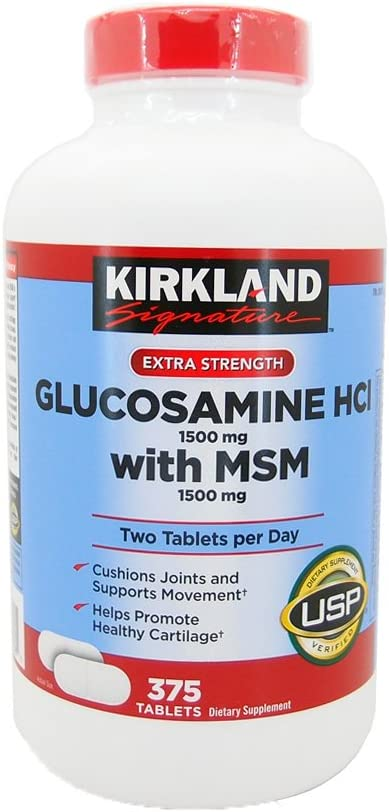 Kirkland Signature Extra Strength Glucosamine HCI 1500mg, With MSM 1500 mg,375-CountTablets