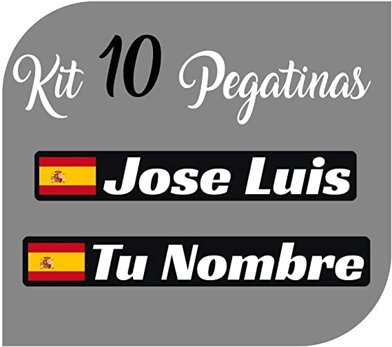 Kit x10 Pegatinas Vinilo Bandera España + tu Nombre - Bici, Casco, Pala De Padel, Monopatin, Coche, Moto, etc. Kit de Diez Vinilos (Pack Fuentes 1): Amazon.es: Coche y moto