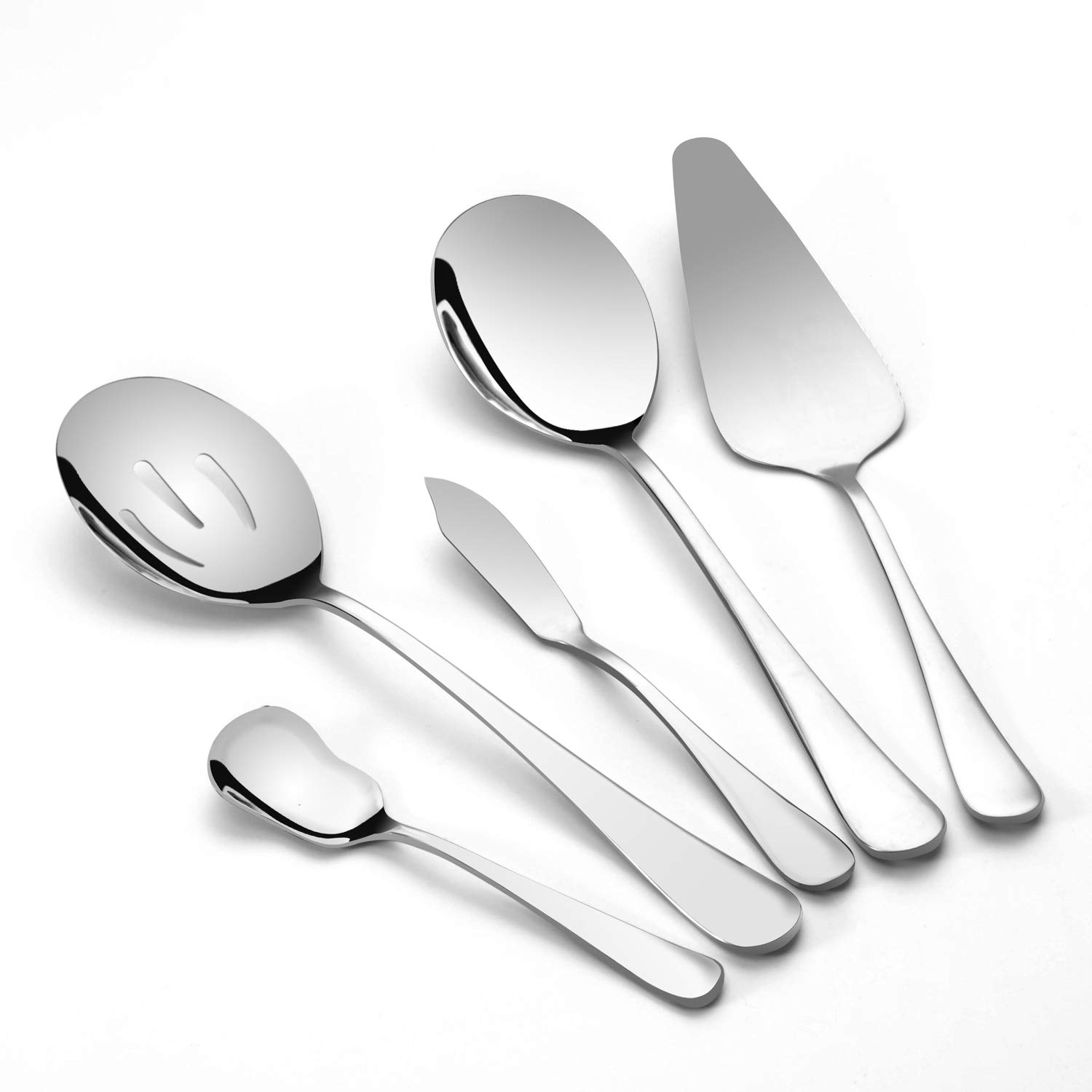 TaNaT Serving Set 5-Piece Stainless Steel Hostess Serving Utensils Set Cutlery Flatware Mini Dessert Server for Home Kitchen,Restaurant and Cafes(Set of 5),Classic Style,Never Rust,with Round Edge,Sil