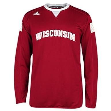 aa0ba4b1e54fc adidas Wisconsin Badgers Climalite Long Sleeve Crew Sideline ...
