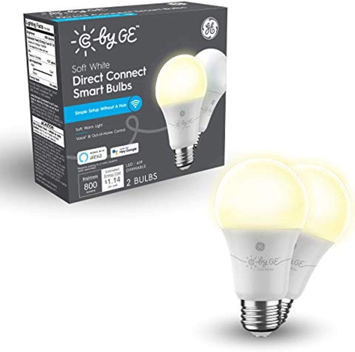 C by GE Soft White Direct Connect Light Bulbs (2 A19 Smart LED Bulbs), 60W Replacement, 2-Pack, Bluetooth Light Bulb, Wi-Fi Light Bulb, Smart Light Bulb Works with Alexa and Google Home Without a Hub