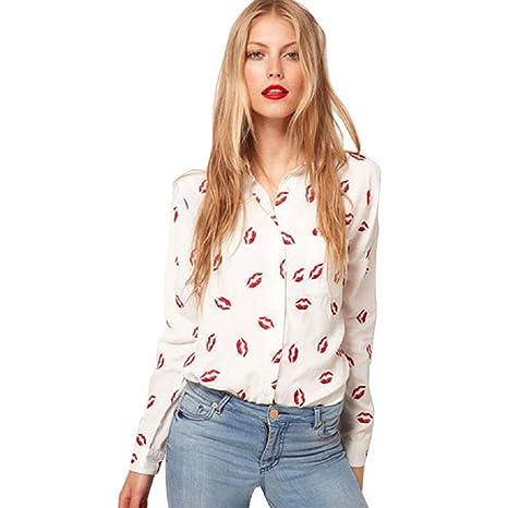 Malloom® mujer Labios pintados solapa manga Larga gasa camisa Tops blusa (blanco (white