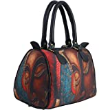 bang price Women's Canvas Digital Printed Multipurpose Metallic Buddha Handbag (Multicolour)