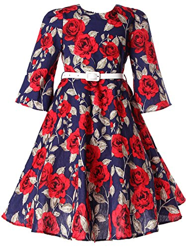 Bonny Billy Little Girls Dresses for Baby Party Clothing with Belt 3-4 Years Floral Red from Bonny Billy