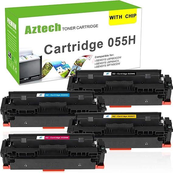 Aztech Mit Chip Kompatibel 055h Toner Cartridge Replacement Für Canon 055 055h Cartridge Für Canon I Sensys Lbp660 Series I Sensys Lbp664cx Lbp663cdw I Sensys Mf740 Series Mf745cdw Mf741cdw Toner Bürobedarf Schreibwaren