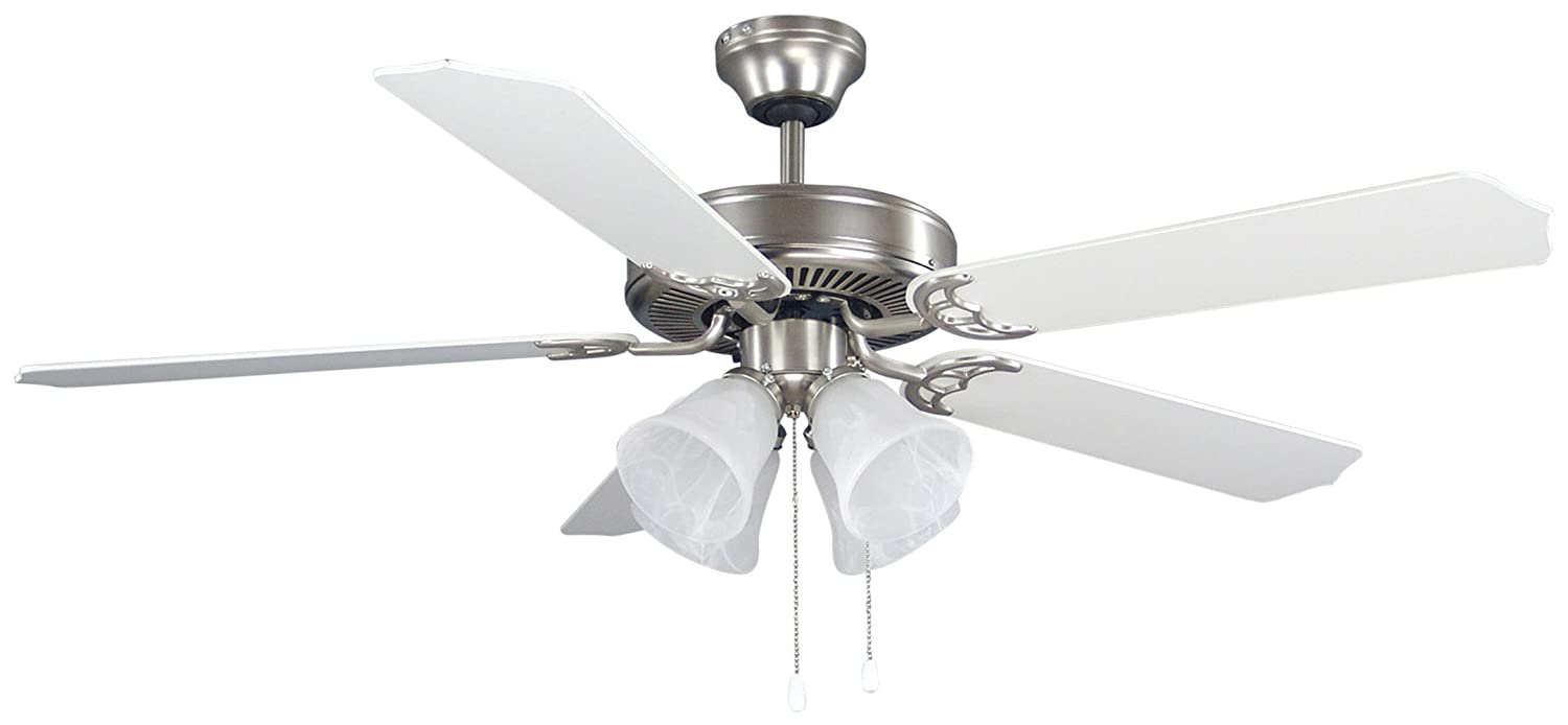 Canarm Ltd St James Bpt 52 Alabaster Glass 4 Bulb Light Fan With Remote And Kit On Wiring A Ceiling Inch 5 Blades White Bleached Oak Home Improvement
