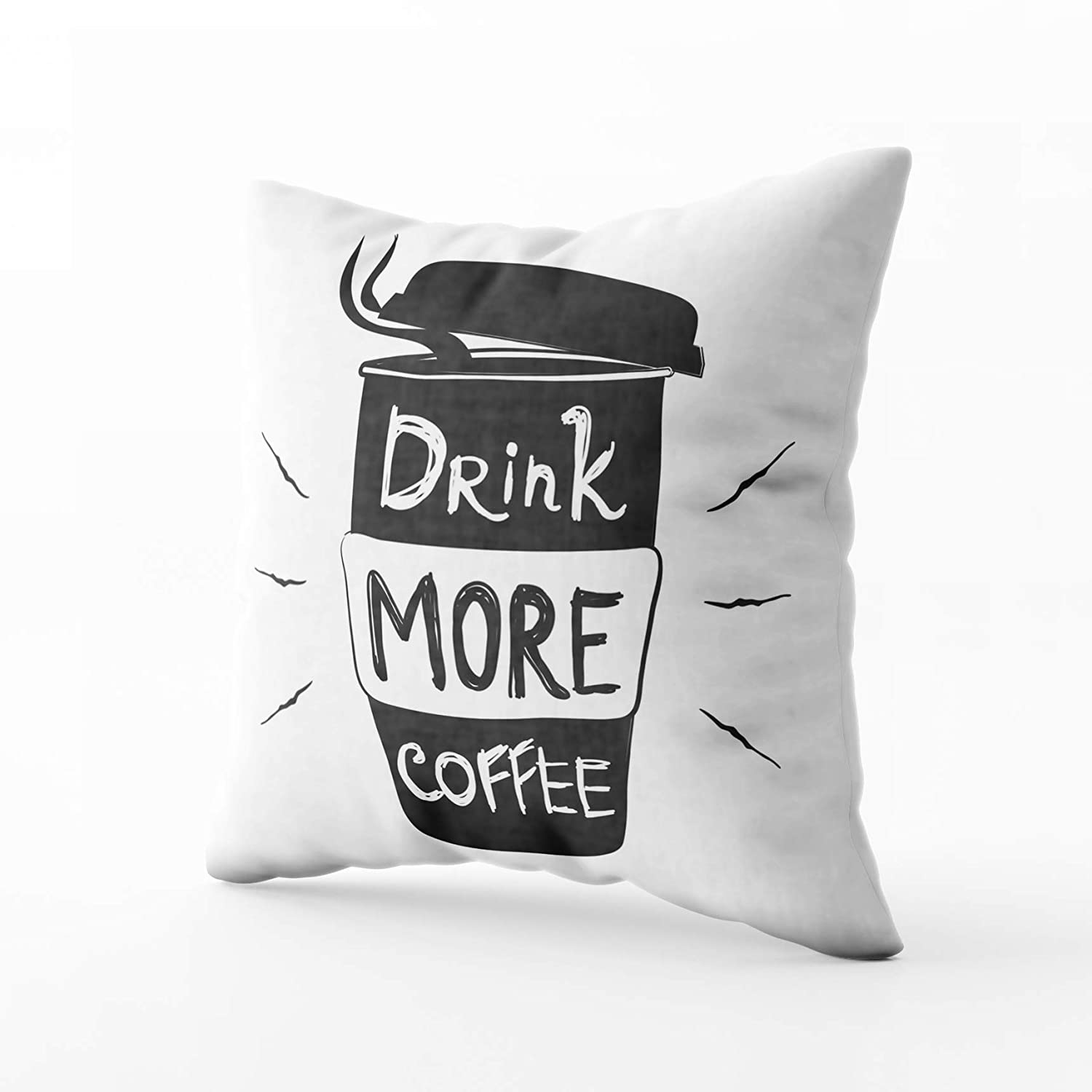 Capsceoll Sofa Throw Pillows Coffee to Go Cup Quote Drink More Black White Typography Poster Sofa Throw Pillows Case 20X20Inch,Home Decoration Pillowcase Cushion for Sofa Couch