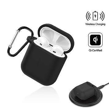 Wireless Cargador Protector Funda para AriPods, Compatible con Todos los QI Carga Inalámbricos Estación Auriculares Accesorios Estuche - Uverbon