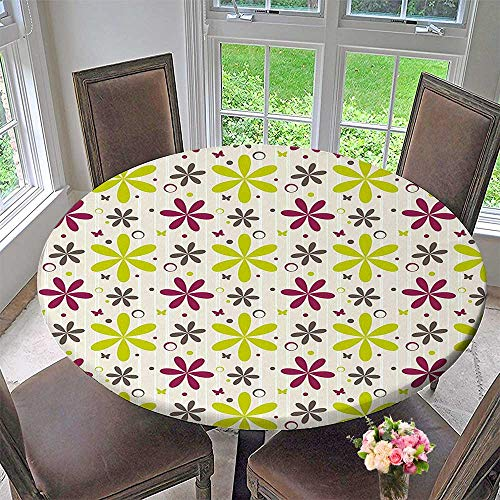 - Mikihome Round Fitted Tablecloth Buds with Butter and Circle Hoops Design Apple Green Maroon Dark Taupe for All Occasions 67