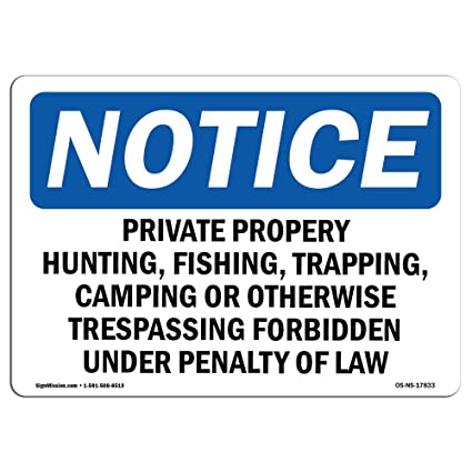 Letrero de Osha Notice - Cartel de caza de propiedad privada ...