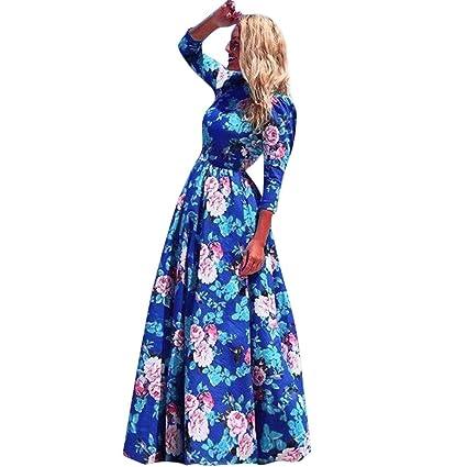 25f77340c9 Women Elegant Boho Dress,Floral Print Maxi Dress Women Button Up Split Long  Flowy Bohemian