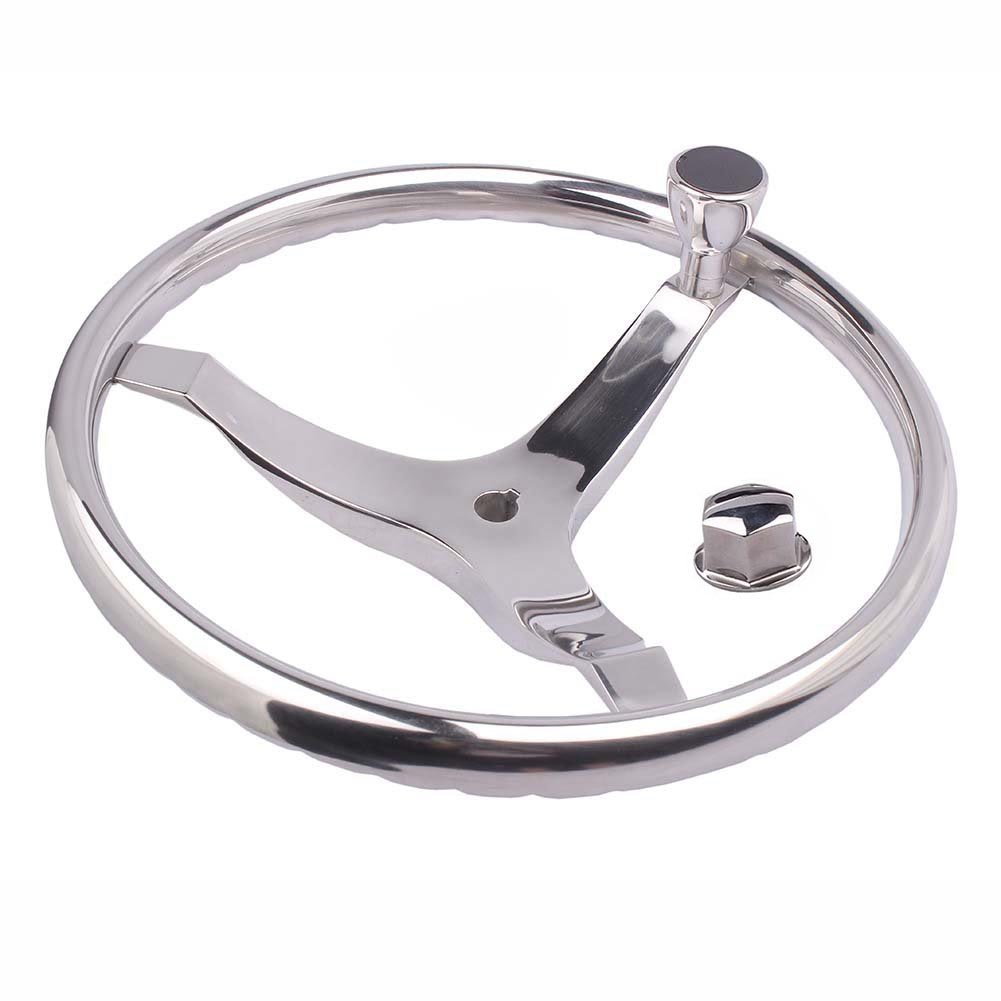 M-ARINE BABY SPORTS STEERING WHEEL 15-1/2'' with KNOB and a 5/8'' -18 RETAINING NUT PRESSED FINGER GRIP for BETTER CONTROL & EYE CATCHING STYLE. Fits 3/4'' Shaft RIM Size 1''