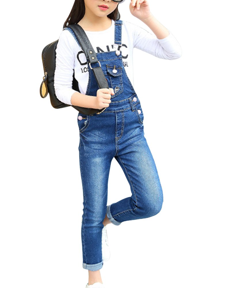 Kids Girls Skinny Denim Dungarees Childrens Jumpsuits and Playsuits Long Jeans Bib Overalls Pinafore