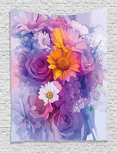 Supersoft Fleece Throw Blanket Watercolor Flower Collection Bouquet of Rose Daisy and Gerbera Flowers Floral Impressionist Style Living Kids Girls Room Accessories Purple (Daisy Duke Fancy Dress)