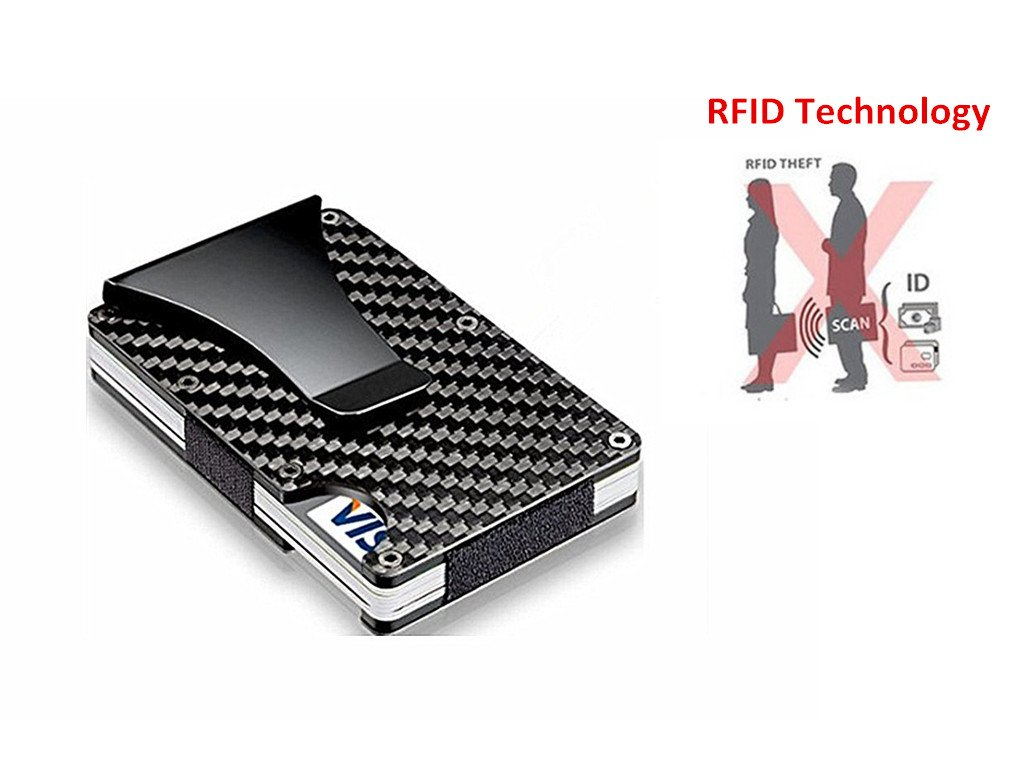 Carbon Fiber Credit Card Holder Minimalist Wallet, RFID Blocking Money Clip Purse For Men