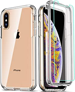 COOLQO Compatible for iPhone Xs Max Case 6.5 Inch, with [2 x Tempered Glass Screen Protector] Clear 360 Full Body Coverage Silicone [Military Protective] Shockproof iPhone Xs Max Cases Phone Cover