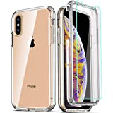COOLQO Compatible for iPhone Xs Max Case 6.5 Inch, with [2 x Tempered Glass Screen Protector] Clear 360 Full Body…