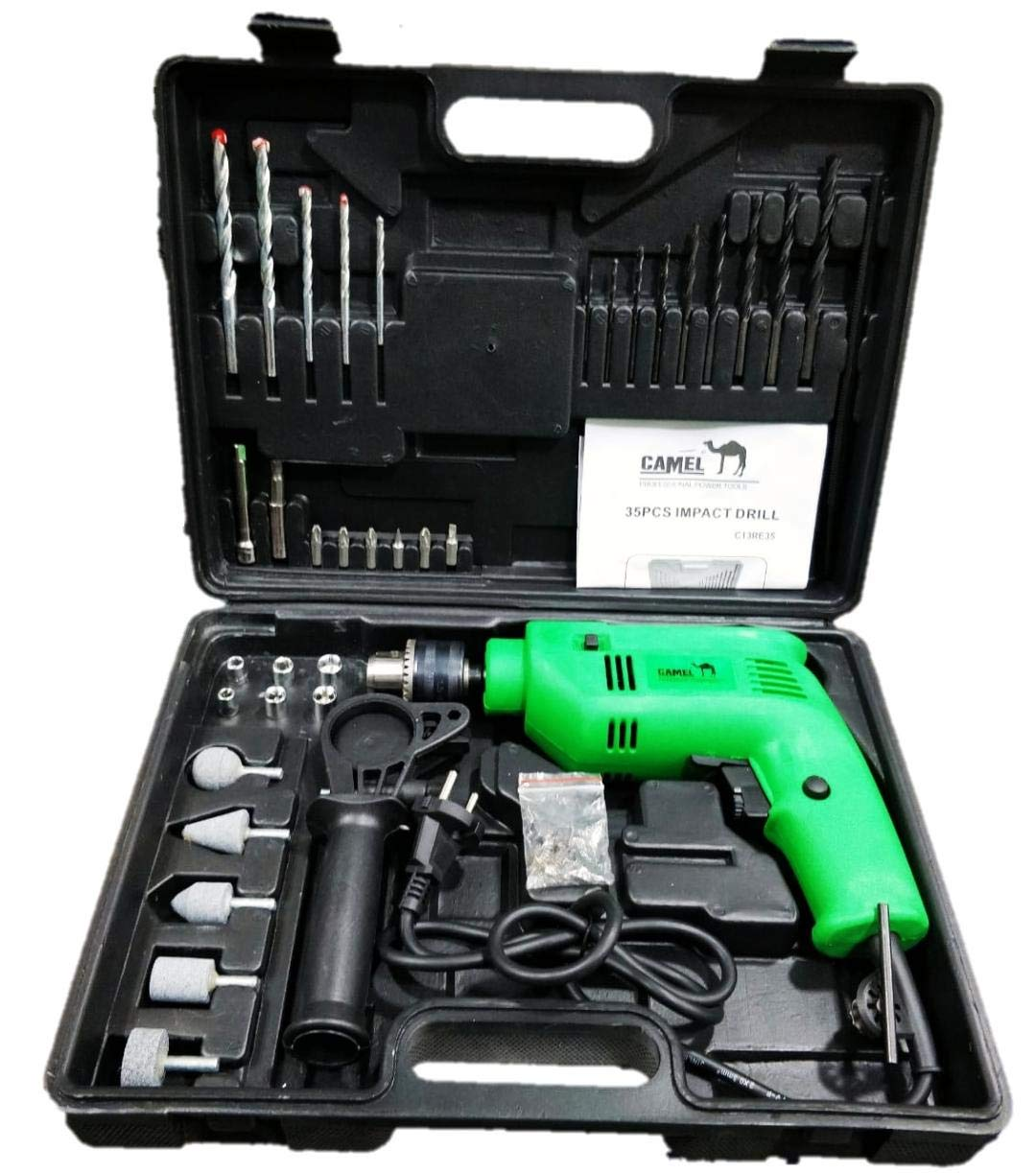 a7e5b06e2bc Camel 13mm 500W Impact Drill Machine With Reversible Function 35pcs  Accessories  Amazon.in  Amazon.in