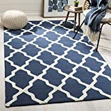 Safavieh Cambridge Collection CAM155G Navy and Ivory Trellis Area Rug (6' Square)