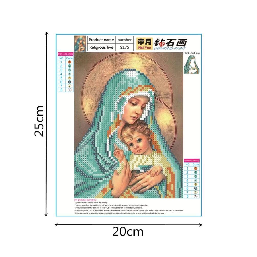 Shybuy 5D DIY Diamond Painting, Full Drill Christianity Religion Embroidery Rhinestone Cross Stitch Painting by Number Kits (E, 20cm25cm)