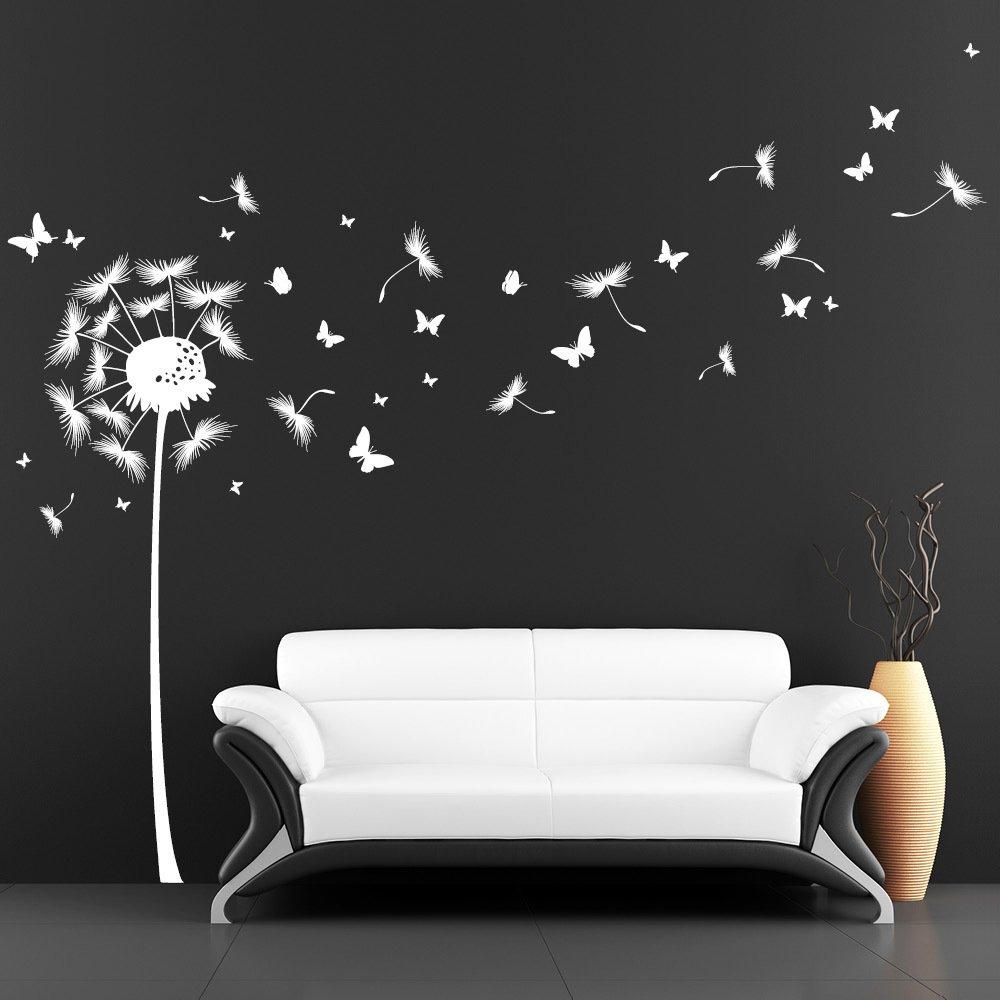 Wandtattoo - Pusteblume mit vielen Schmetterlingen