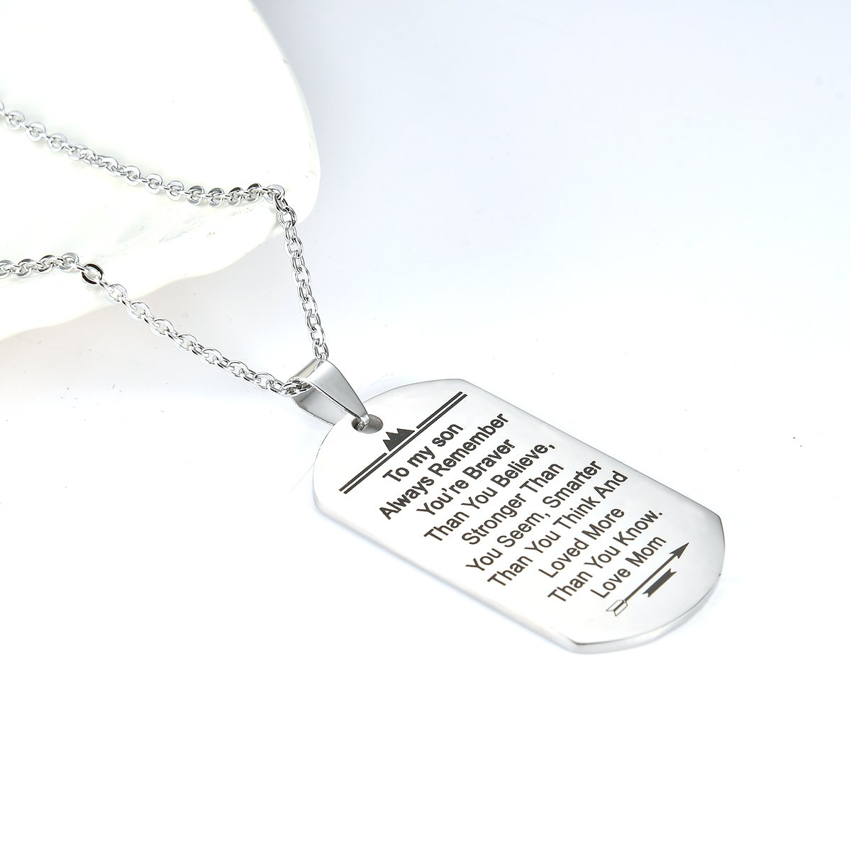 Stainless Steel Dog Tag Letters ''To my son....love mom'' Pendant Necklace,Inspirational Gifts For Son Jewelry by danjie (Image #3)