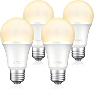 Gosund Smart Light Bulb 75W Equivalent E26 8W Works with Alexa Google Home A19 LED Bulb Dimmable Bulb, 2.4GHz WiFi Only, No Hub Required Warm White 4 Pack