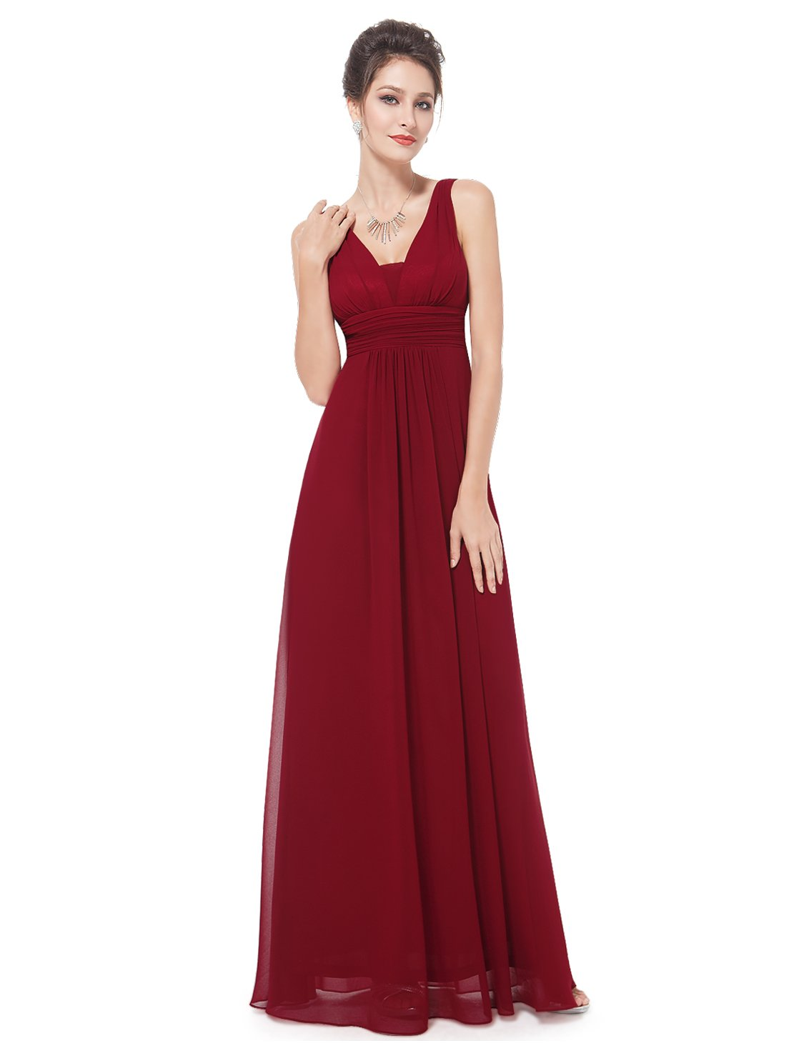 Ever-Pretty Womens Elegant Ruffles Wedding Guest Dresses 4US Red