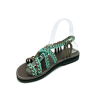 cedaf3350c7a4 gracosy Women Summer Sandals Clip Toe Flip Flops Sandals Shoes Slippers  Bohemia Hand Braided Beach Shoes Low Flat Heel Cross Straps Gladiator  Sandals Casual ...