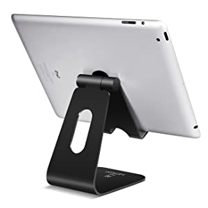 Tablet Stand Multi-Angle, Lamicall Tablet Holder: Desktop Adjustable Dock Cradle Compatible with Tablets Such As iPad Air Mini Pro, Phone XS Max XR X 6 7 8 Plus More Tablets (4-13 Inch) - Black