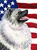 Caroline's Treasures SS4051CHF USA American Flag with Keeshond Flag Canvas, Large, Multicolor