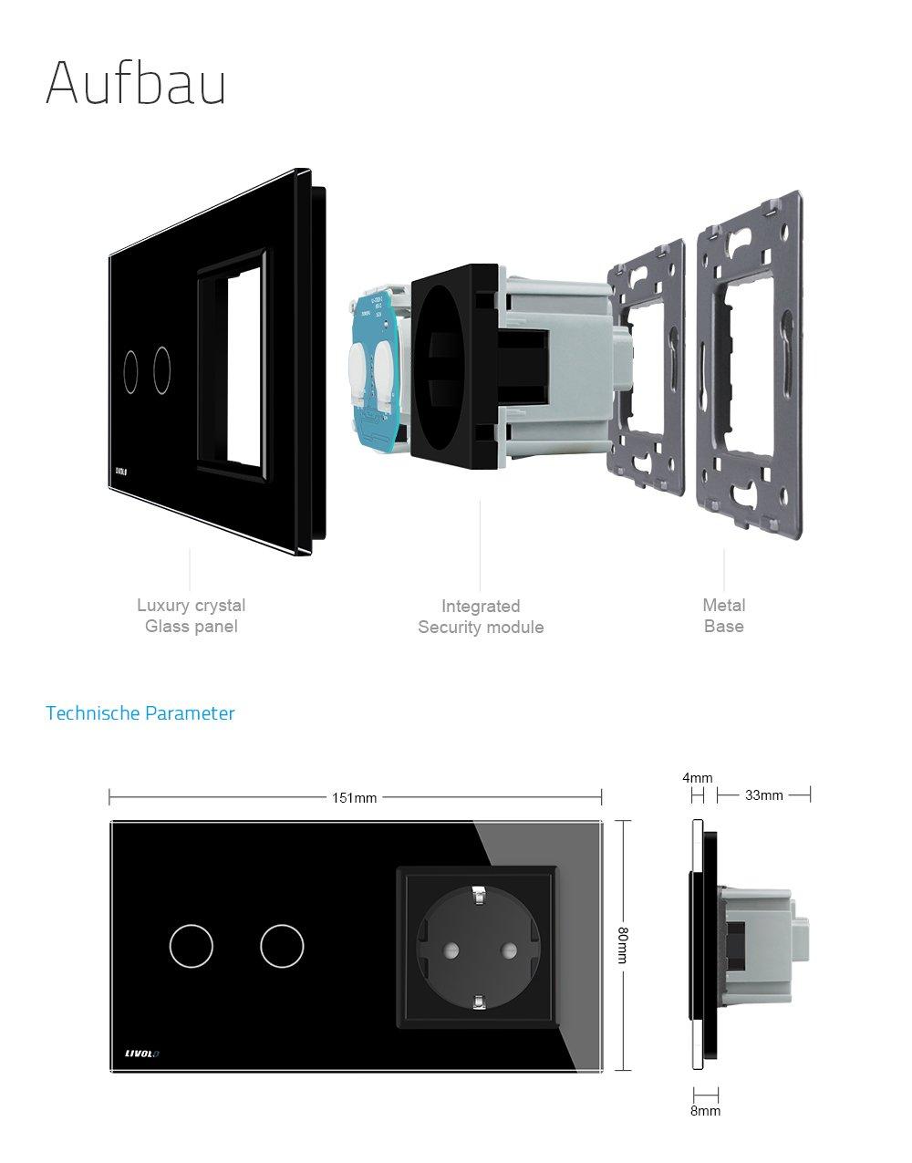 LIVOLO Schwarz Lichtschalter mit Steckdose mit LED Anzeige Licht ...