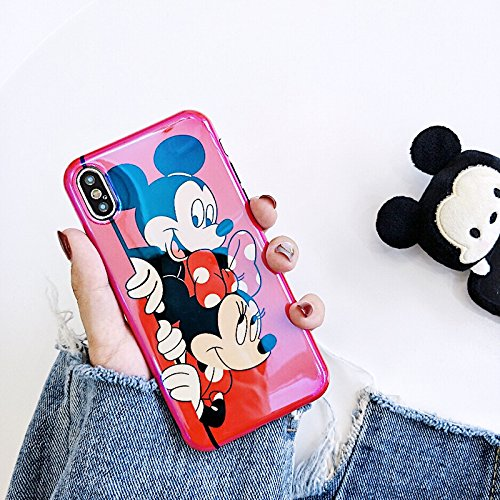 Ultra Slim Fit Shiny Smooth Soft TPU Red Mickey Minnie Mouse Case for iPhone X iPhoneX Disney Cartoon Sleek Flexible Protective Shockproof Cool Fun Cute Lovely Fashion Bling Gift Girls Teens Kids