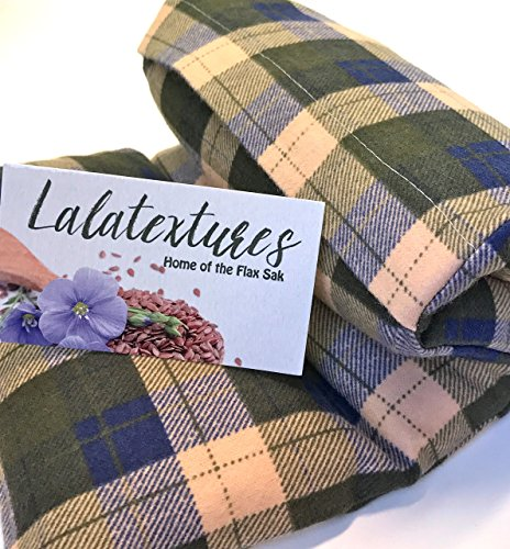 Natural Pain Relief. Large Microwave Heating Pad. Hot/Cold Therapy, Olive Green, Brown, and Blue Plaid, Lavender Scented. The