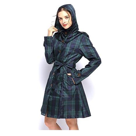 Styhatbag Chubasquero Mujer Lluvia Impermeable de Tela Escocesa Verde Abrigo Multifuncional Largo Impermeable Poncho de Rompevientos