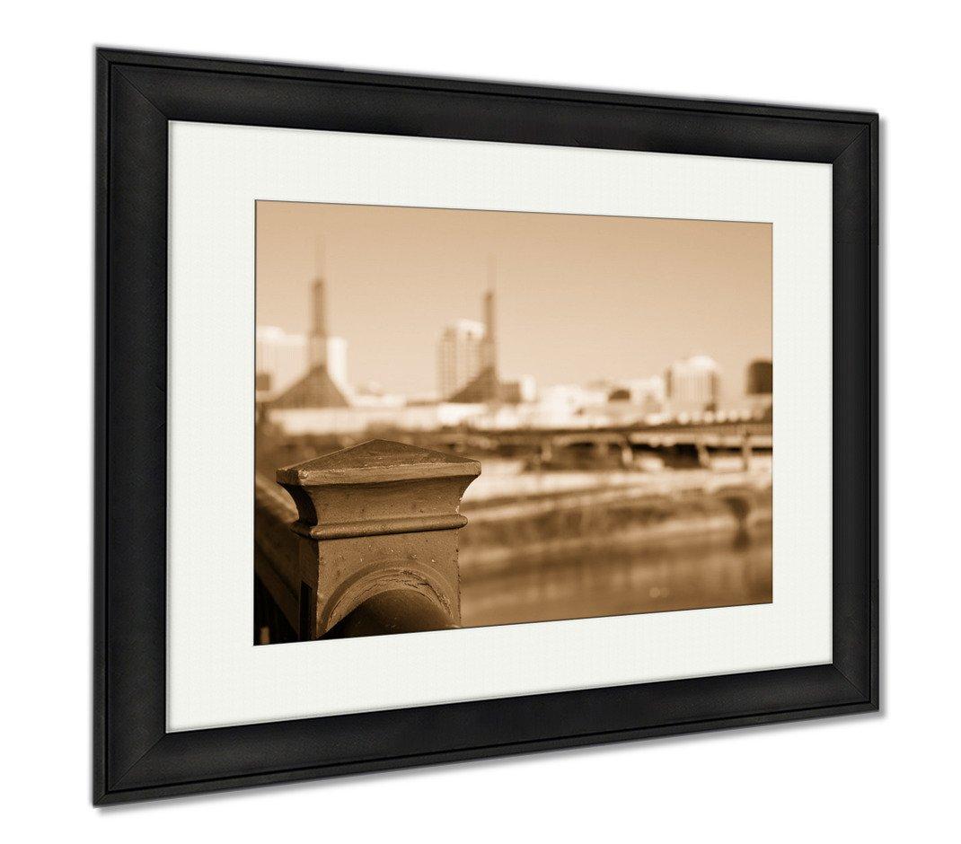 Ashley Framed Prints Old Steel Railing On Portland Bridge, Office/Home/Kitchen Decor, Sepia, 30x35 (frame size), Black Frame, AG6505834
