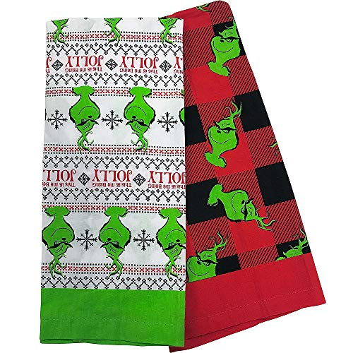 Grinch Kitchen Towels 2ct | for Christmas; New Year or Birthday Grinch-Theme-Party -