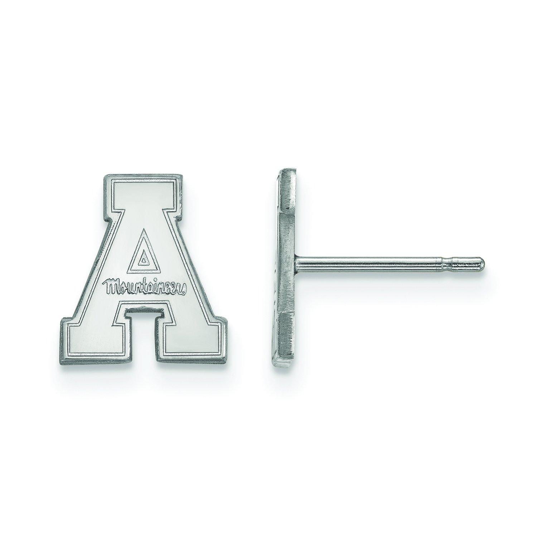 Appalachian State Extra Small (3 / 8インチ) ポストイヤリング(10 Kホワイトゴールド)   B01JAPLR0M