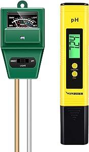 VIVOSUN PH Meter Soil Tester Kit, Digital PH Water Tester and 3-in-1 Moisture Light PH Meter for Plants