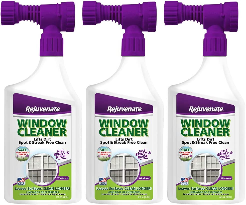 Rejuvenate Outdoor Window Spray and Rinse Cleaner with Hose End Adapter (3 x 32oz)