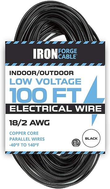 18 2 Low Voltage Landscape Wire 100ft Indoor Outdoor Low Voltage Copper Cable Black Amazon Com