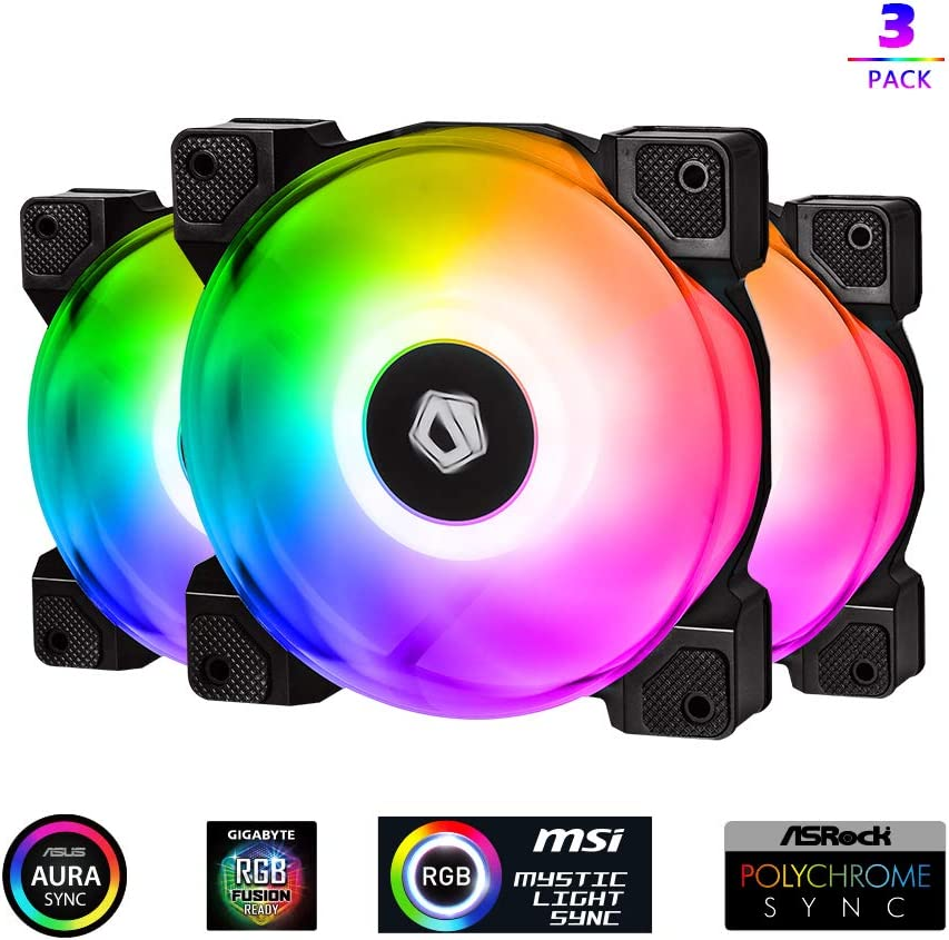 ID-COOLING DF-12025-ARGB Trio Case Fan CPU Cooling Fan Addressable RGB Case Fan 5V ARGB MB Aura Sync PWM Fan for CPU Cooler/Raidator/PC Chassis(Remote Control Included)