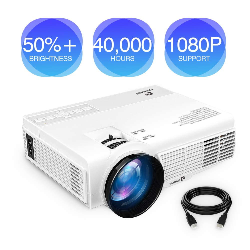 ViviMage C3 20%+Brightness Mini LED Projector 1080P HD Supported 170'' Display Outdoor Movie Home Theater Video Projector, Support HDMI, Amazon Fire TV Stick, PS4, USB (HD) (1080P HD)