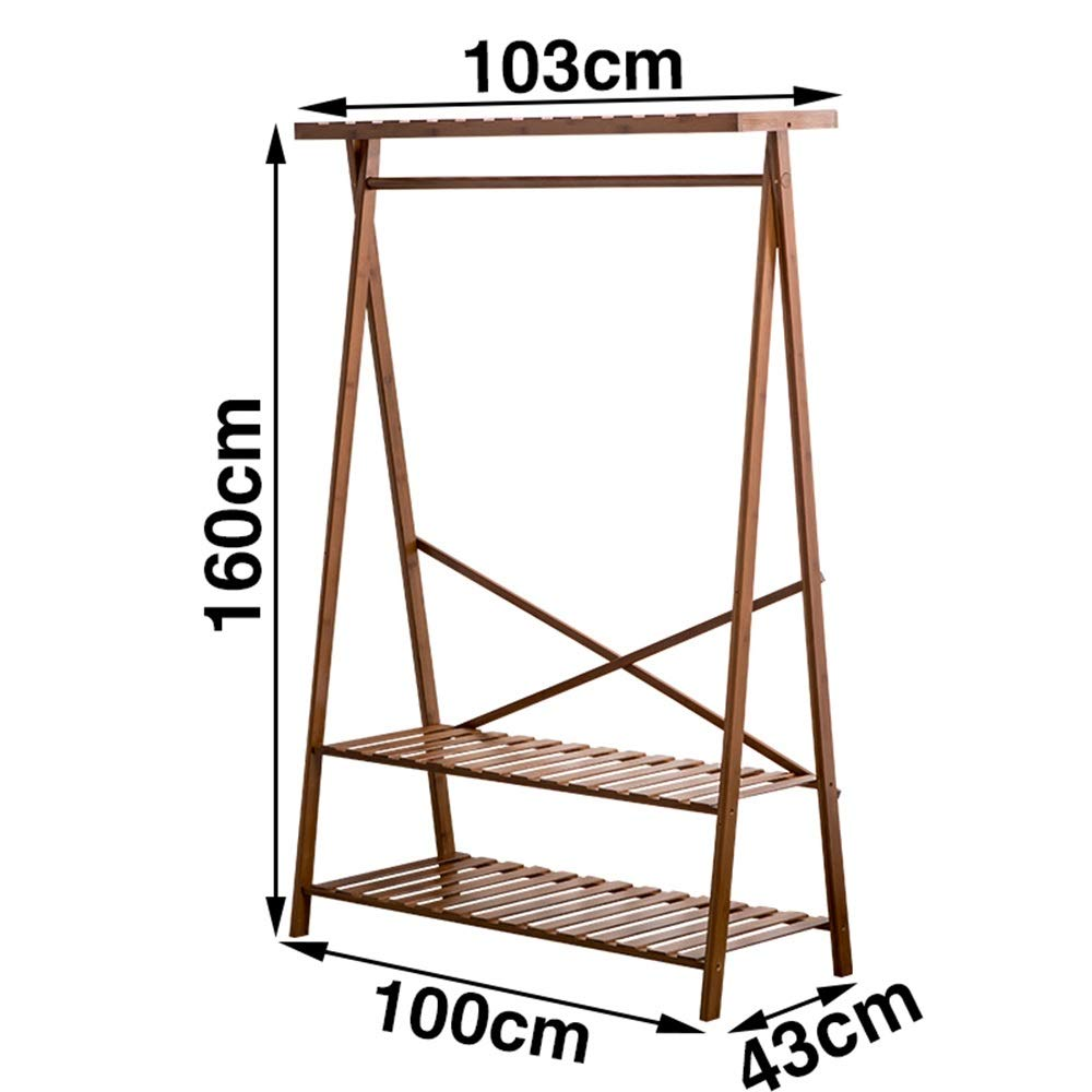 103×43×160CM JIAYING Coat Stand, Coat Rack, Hat Storage, Bamboo Entryway Coat Rack Bench with 3 Tiers Shelf for Hallway Bedroom Living Room Office Closet (Size   93×43×160CM)