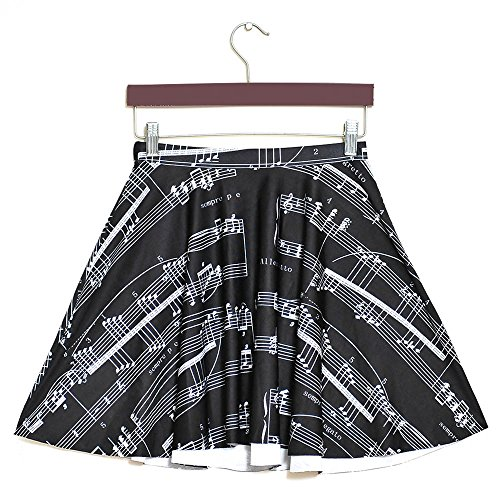 YoungG-3D Women's 3D Print Black Music Score Mini Skirt Basic Versatile High Waisted Mini Skater Skirt Picture Color (Dance Costume Resale)